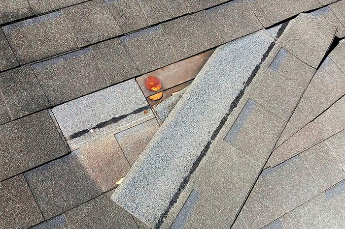hail damage to a roof